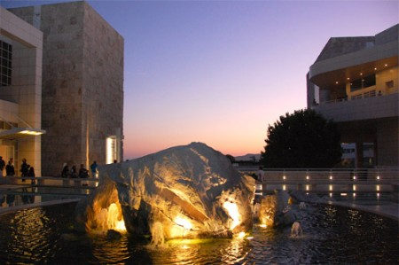 Fountain at the Getty Museum at dusk