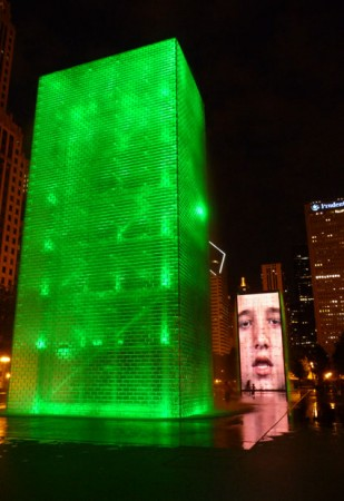 Crown Fountain Chicago at night