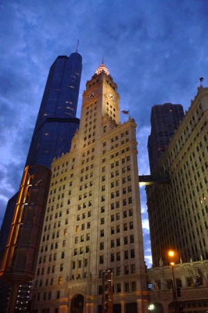 Chicago's Wrigley Building at dusk